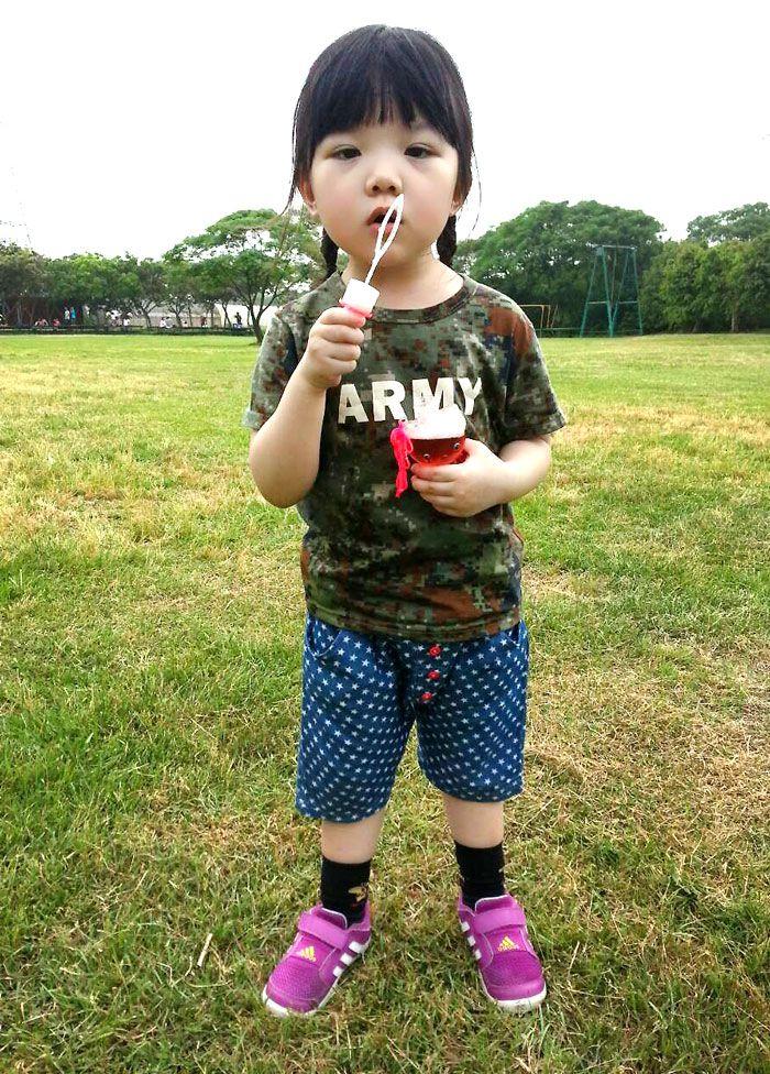 韩国制短袖上衣-马赛克迷彩-【banana-kids香蕉童装