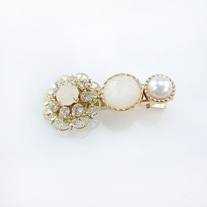 韓國製閃亮鑽石花朵髮夾-珍珠白