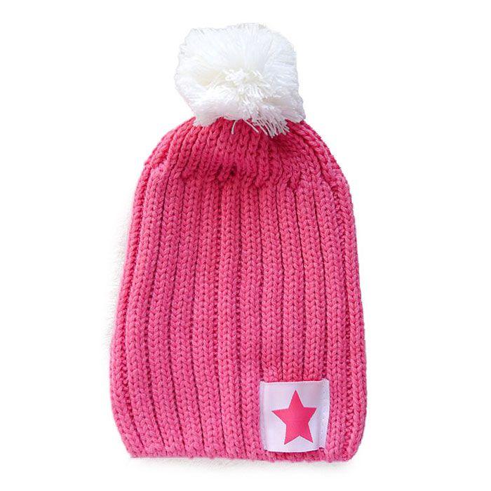 大毛球時尚星星縫標毛線寶寶帽(粉紅)