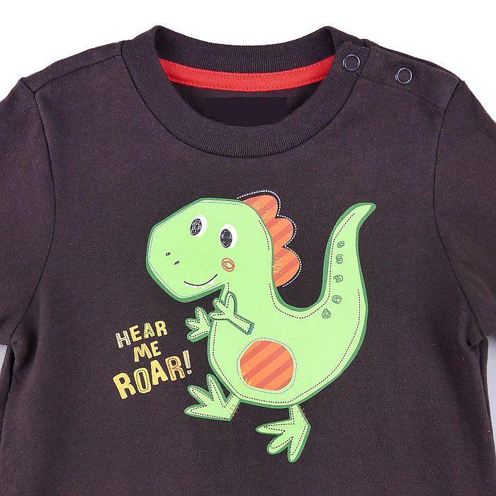 小恐龍長袖包屁衣-咖啡色