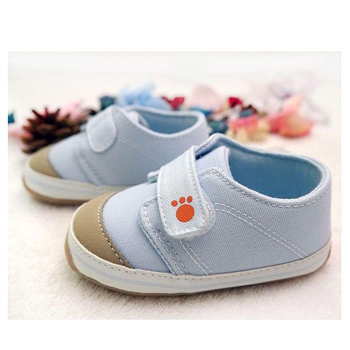 水藍色純棉防滑軟膠底寶寶鞋/防滑學步鞋/小童鞋