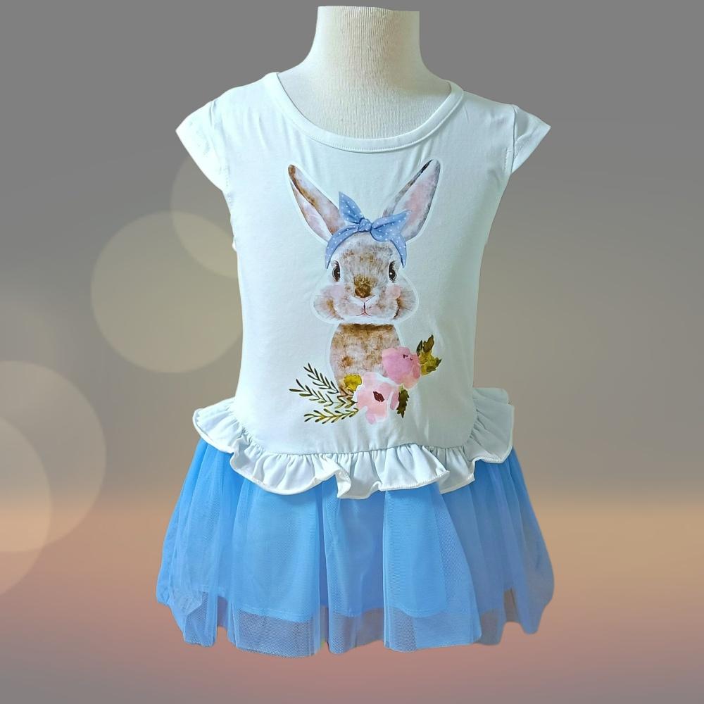 亮面小兔短袖連身裙/短洋裝(內襯+紗裙)