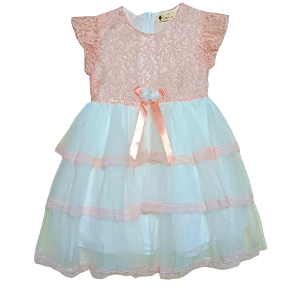 粉色蕾絲蛋糕紗裙小洋裝(兩層紗+棉質內襯)