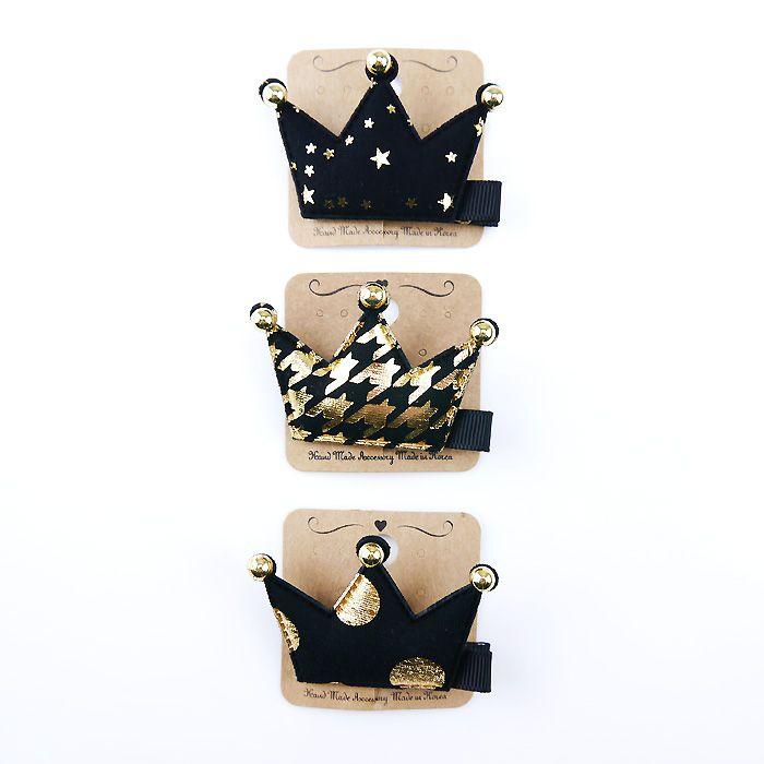 韓國製髮夾-格紋皇冠